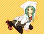 cat_ears green_hair gumi hoodie long_hair looking_up nail_polish pantyhose shirt shoes vocaloid yellow_eyes