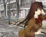 aozaki_aoko blue_eyes brown_hair long_hair mahoutsukai_no_yoru seifuku type-moon
