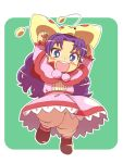 chibi dangan dress freckles grandia grandia_i open_mouth pink_dress purple_hair solo sue