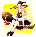 aplerichi apple blonde_hair braid broom broom_riding food fruit hat highres kirisame_marisa long_hair short_hair sidesaddle solo touhou witch witch_hat yellow_eyes