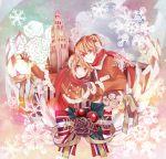 earmuffs highres kagamine_len kagamine_rin macco scarf siblings snowflakes twins vocaloid winter
