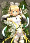 absurdres aqua_eyes arm_warmers blonde_hair daisy detached_sleeves feathers flower hair_ornament hair_ribbon hairclip hands_on_headphones headphones highres ito_shi kagamine_rin kagamine_rin_(append) navel ribbon short_hair shorts smile solo spider spider_web vocaloid vocaloid_append