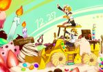 blonde_hair blue_eyes bow candle candy chocolate food fruit hair_bow hair_ornament hairclip happy_birthday highres kagamine_len kagamine_rin kneeling outstretched_arm ponytail short_hair siblings sitting steamroller strawberry tractor twins vocaloid