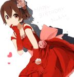 brown_hair dress elbow_gloves face flower gloves gown hair_flower hair_ornament happy_birthday k-on! manabe_nodoka nasuna no_glasses pink_rose rose short_hair