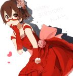 brown_hair dress elbow_gloves face finger_in_mouth flower glasses gloves gown hair_flower hair_ornament half_rim_glasses happy_birthday k-on! manabe_nodoka nasuna pink_rose red red-framed_glasses red_dress rose semi-rimless_glasses shadow short_hair under-rim_glasses