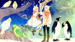 benguinsscarf bird blonde_hair boots brother_and_sister giraffe hair_ornament hair_ribbon hairclip highres kagamine_len kagamine_rin mig_(36th mig_(36th_underground) necklace penguin ribbon scarf short_hair siblings smile tree twins underground) vocaloid