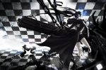 black_rock_shooter black_rock_shooter_(character) blue_eyes boots chain checkered cross glowing glowing_eyes pale_skin shorts stu_dts twintails