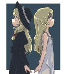 2girls blonde_hair cosette dress dual_persona hat les_miserables les_miserables_shoujo_cosette looking_up lowres multiple_girls oekaki profile simple_background symmetry teen world_masterpiece_theater