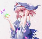 bare_shoulders blush bust butterfly hair_flip hat highres japanese_clothes kimono off_shoulder petals pink_hair red_eyes saigyouji_yuyuko side_b solo super_paper_mario tippi_(super_paper_mario) touhou triangular_headpiece