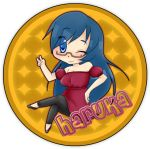 blue_eyes blue_hair button circle glasses kanamemo long_hair nishida_haruka peace_sign smile suikasen wink