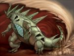 claws monster no_humans pokemon realistic sand solo tyranitar