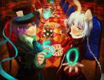 alice_in_wonderland animal_ears braid bunny_ears character_request hat mad_hatter male march_hare multiple_boys purple_hair puu_(aiko) saleh table tales_of_(series) tales_of_rebirth top_hat veigue_lungberg white_hair