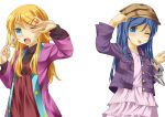 aragaki_ayase bad_id blonde_hair blue_eyes blue_hair cuffs fan fang handcuffs hat highres kousaka_kirino long_hair onaka_sukisuki ore_no_imouto_ga_konna_ni_kawaii_wake_ga_nai tongue wink