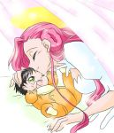 baby closed_eyes code_geass euphemia_li_britannia kiss long_hair mother_and_son pink_hair