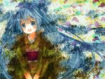 bad_id blue_eyes blue_hair fang hatsune_miku highres hinanosuke japanese_clothes kimono long_hair obi open_mouth solo twintails very_long_hair vocaloid