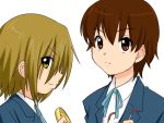 brown_eyes brown_hair k-on! manabe_nodoka no_glasses short_hair smile supon tainaka_ritsu