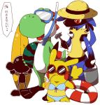 1boy 3others amekawaao aura_(specie) bikini bucket clothed_pokemon creatures_(company) dinosaur diving_mask female food fruit game_&_watch game_freak gen_1_pokemon gen_4_pokemon hat innertube lucario male mario_(series) mouse mr._game_&_watch nintendo nintendo_ead olm_digital pikachu pikachu_libre pokemon pokemon_(creature) pokemon_(game) pokemon_dppt pokemon_rgby sexual_dimorphism sora_(company) summer sunglasses super_mario_bros. super_smash_bros. super_smash_bros._ultimate super_smash_bros_64 super_smash_bros_brawl super_smash_bros_melee surfboard swimsuit watermelon yoshi yoshi's_island