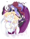 blonde_hair blue_eyes boots cape dress dual_persona heart highres jewelry long_hair macross macross_frontier macross_frontier:_itsuwari_no_utahime oretto_(ring) purple_hair sheryl_nome single_earring thigh-highs thigh_boots thighhighs wink
