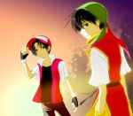 bandana baseball_cap black_hair crossover gensou_suikoden gensou_suikoden_i gloves hat male meguri multiple_boys pokemon pokemon_(game) red_(pokemon) red_(pokemon)_(classic) short_hair suikoden suikoden_i tir_mcdohl