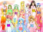 aika_granzchesta akira_ferrari alice_carroll alicia_florence aria aria_pokoteng athena_glory blonde_hair blue_hair brown_hair crossover cure_marine edomae_lunar flower furisode hagoita hair_flower hair_ornament heartcatch_precure! ikamusume japanese_clothes kimono kurumi_erika long_hair luna_rune magical_girl mizunashi_akari new_year paddle pink_hair precure president_maa red_hair redhead seto_no_hanayome seto_san seto_sun shinryaku!_ikamusume short_hair short_twintails silver_hair smile tentacle_hair twintails wink