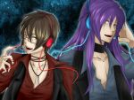 2boys artist_request blue_eyes brown_hair collar glasses hand_on_headphones headphones hiyama_kiyoteru kamui_gakupo long_hair male nail_polish open_mouth open_shirt purple_hair short_hair vocaloid yellow_eyes
