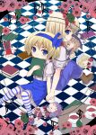 alice_margatroid alice_margatroid_(pc-98) back-to-back blonde_hair blue_eyes book boots capelet character_doll checkered checkered_background cup dual_persona flower hakurei_reimu kirisame_marisa maid multiple_girls pink_rose rose saucer shinki skirt striped striped_legwear striped_thighhighs suspenders teacup thighhighs time_paradox touhou touhou_(pc-98) urara_(ckt) yumeko