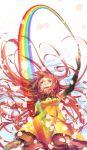 akashirokai detached_sleeves dress long_hair original paintbrush palette rainbow red_eyes red_hair redhead thigh-highs thighhighs