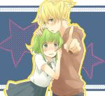 1boy 1girl bad_id blonde_hair blue_eyes blush booota couple green_hair gumi hand_on_head hetero kagamine_len pointing short_hair vocaloid wide-eyed young