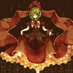 bow curtsey dress frills green_eyes green_hair hair_bow highres kagiyama_hina kaio_(watagami) long_hair petticoat solo touhou