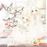 animal_ears bad_id barefoot bird bunny_ears clock dress machiba_riku multiple_girls original sitting