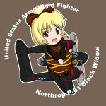 airplane blonde_hair blush_stickers chibi commentary hair_ribbon kurodani_yamame military no_nose nose_art p-61_black_widow red_eyes ribbon sakurato_tsuguhi solo touhou world_war_ii wwii