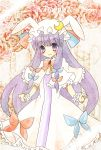 absurdres alternate_costume animal_ears bunny bunny_ears crescent_moon dress hat highres long_hair patchouli_knowledge purple_hair rabbit takahashi_kanon touhou violet_eyes