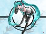 aqua_hair boots detached_sleeves green_eyes hatsune_miku headset highres leaning_forward long_hair masamune_yukari necktie skirt sleeves_past_wrists solo thigh-highs thigh_boots thighhighs twintails very_long_hair vocaloid watashi_no_jikan_(vocaloid)