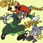animal_ears basket bow braid cat cat_ears cat_tail chasing cheese crossover fang faux_traditional_media furry fusion hair_bow jerry_(tom_and_jerry) kaenbyou_rin mouse mouse_ears mouse_tail multiple_girls multiple_tails nazrin open_mouth parody pointy_ears red_eyes rojiuu running style_parody tail tom tom_and_jerry touhou twin_braids