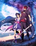 arm_guard armband belt black_hair blue_eyes braid cape crescent crossover full_moon genzoman height_difference katana kurogane long_hair makimachi_misao moon red_eyes rurouni_kenshin size_difference sword tsubasa_chronicle weapon