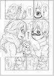 bag blush coat comic glasses gloves guitar_case hair_ornament hairclip hirasawa_ui instrument_case k-on! manabe_nodoka monochrome multiple_girls nukunuku ponytail scarf school_bag smile snowman sweatdrop translated translation_request