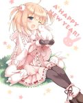 :d ;d blonde_hair blue_eyes blush bunny dress fur_trim hair_ornament happy highres mittens new_year open_mouth original pan_(mimi) pantyhose rabbit short_hair sitting smile solo star twintails wink