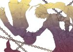 2boys chain fate/extra fate/extra_ccc fate_(series) gilgamesh male_protagonist_(fate/extra) multiple_boys nomoc school_uniform