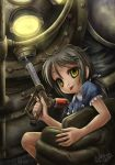 1girl :p armor big_daddy bioshock carrying diving_suit dress examheart glowing helmet large_syringe little_sister oversized_object short_hair smile syringe tongue yellow_eyes
