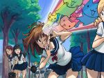 kinuko_(fever_chill) lowres multiple_girls original rainbow scared school_uniform short_hair too_many_cats tree what