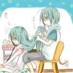 1boy 1girl brother_and_sister female hatsune_miku hatsune_mikuo male vocaloid