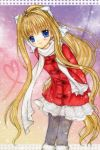 blonde_hair blue_eyes coat hinokami_sakura kamio_misuzu long_hair pantyhose ponytail scarf very_long_hair winter_clothes