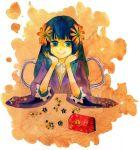 blue_hair box chest chiyo_(fragile) flower fragile hair_flower hair_ornament japanese_clothes long_hair marble solo traditional_media treasure_chest triangle_lunch