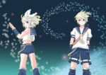 belt blonde_hair bow detached_sleeves hair_clip headphones kagamine_len kagamine_rin leg_warmers necktie sailor_uniform short_shorts shorts snowflakes twins vocaloid wind