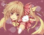 >:) blonde_hair colored_eyelashes flandre_scarlet flying from_above hair_ribbon long_hair oukawa_yuu outstretched_arms red_eyes ribbon side_ponytail smile solo spread_arms thigh-highs thighhighs touhou wings