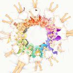 >:) :p animal_ears bare_shoulders barefoot blonde_hair blue_eyes blue_hair blush bow breasts brown_eyes child circle_formation curtsey dress earrings eyebrows gloves gradient green_hair hair_bow hair_over_one_eye hair_ribbon hat hat_removed headwear_removed jewelry komin-chan long_hair lying maid_hat maid_headdress multiple_girls ninini orange_hair original pink_hair pointy_ears purple_eyes purple_hair red_eyes red_hair redhead ribbon sleeping smile spectrum tentacle_hair tongue twintails vanilla_(artist) vanilla_(v-palace) very_long_hair violet_eyes white_dress yellow_eyes