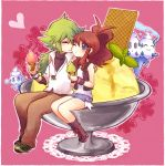 baibanira banipucchi couple food ice_cream kiss n_(pokemon) pokemon pokemon_(game) pokemon_black_and_white pokemon_bw smile torute touko_(pokemon) vanillite vanilluxe wink
