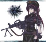 alternate_costume bipod braid bullpup gloves gun hat hong_meiling long_hair machine_gun panzer purple_eyes qbb_95_lsw red_hair redhead sling solo touhou trigger_discipline twin_braids very_long_hair violet_eyes weapon