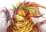 androgynous conjaku feathers final_fantasy final_fantasy_vi gogo horns mask skull solo staff