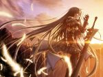 black_hair feathers gauntlets highres long_hair primitive_link sione sunrise sword wallpaper weapon yuuki_makoto